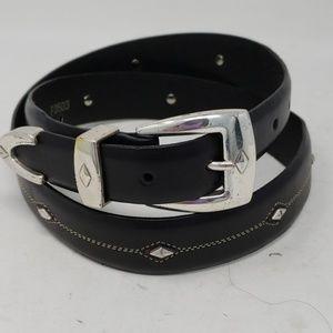 Brighton Denver Diamond Black Leather Belt 36